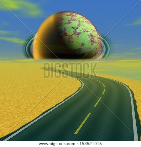 Landscape with road and alien celestial body approaching the Earth. Landscape with highway and abstract planet. 3d illustration with unknown planet