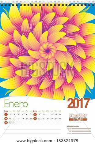 Enero -January in Spanish language- wall calendar 2017 template with abstract floral design, ready for printing. Size: 297mm x 420mm. Format vertical. Spanish version