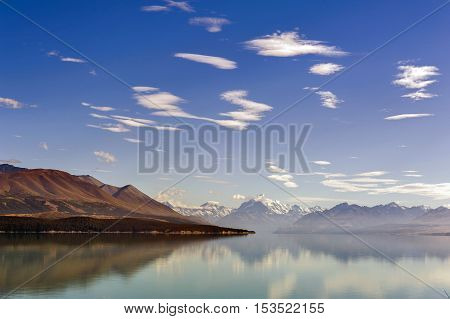 Lake Pukaki Fed By The Tasman River, Which Has Its Source In The Tasman And Hooker Glaciers, Close T