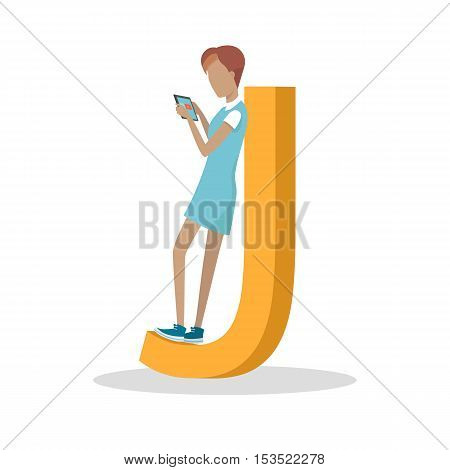 J letter and girl standing and playing on tablet isolated. Social network. Alphabet with cartoon pictures of people using modern computer technologies for communication. Flat design. ABC vector