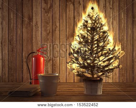 3d rendering. burning christmas tree with fire extinguisher and bucket beside.