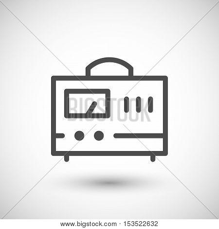 Voltage regulator line icon isolated on grey. Vector illustration