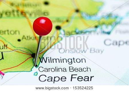 Carolina Beach pinned on a map of North Carolina, USA