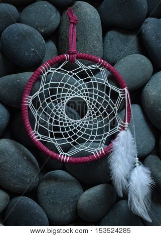 Fancy Pink and White Native American Dream Catcher