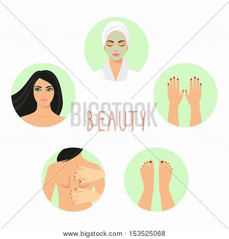 illustrations of young beautiful woman, cosmetic mask on her face, woman with make-up, hands with manicure, feet with manicure.