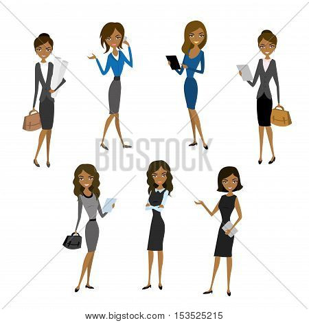 Set Women in office clothes. Beautiful woman in business clothes. Vector illustration
