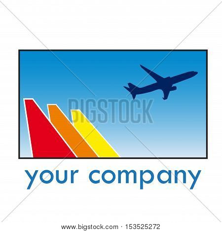Vector sign travel airplane in takeoff isolated illustration