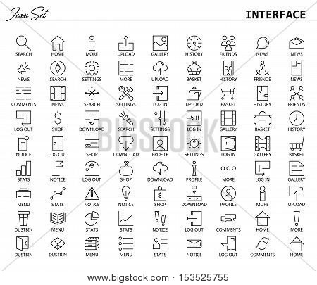 81 thin line icons for Web and Mobile. Light version. Collection of high quality outline pictogram of user's interface. Signs, icons and button for website, mobile app, logo, etc.