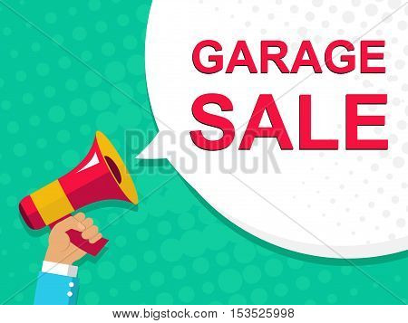 Megaphone With Garage Sale Announcement. Flat Style Illustration