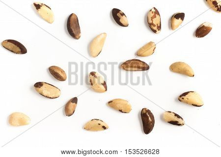 Brazilian Nuts Close-up photo. Castanha do Para isolated on white background