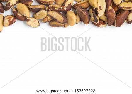 Brazilian Nuts Frame. Castanha do Para isolated on white background