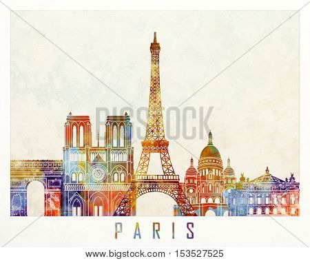 Paris landmarks in artistic abstract watercolor poster