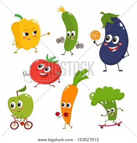 Set of vegetables doing sport - bell pepper, cucumber, eggplant, tomato, apple, carrot, broccoli, cartoon vector illustration isolated on white background. Cute and focused vegetable characters