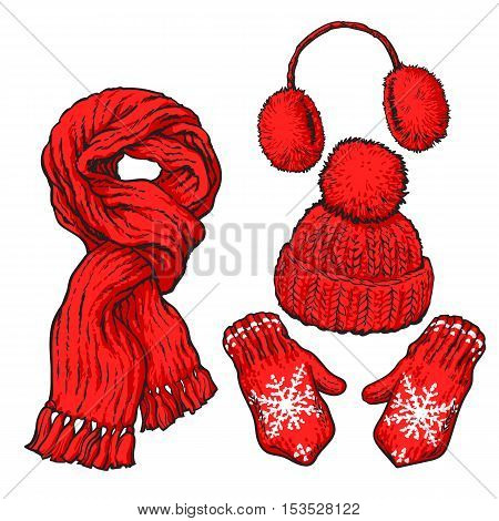 Set of bright red knotted scarf, hat, ear muffs and mittens, sketch style vector illustrations isolated on white background. Hand drawn woolen scarf, hat with a pompom, mittens and ear warmers