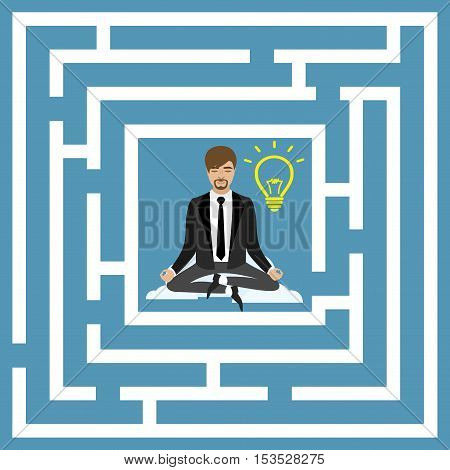 Flat design vector concept illustration. Businessman in lotus position business idea