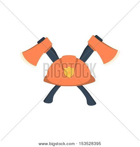 hat fireman fire department cap equipment firefighter axe crossed vector graphic isolated illustration