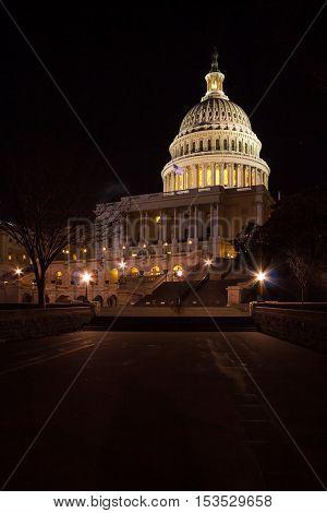Capitol Building At Night, Washington Dc, Usa