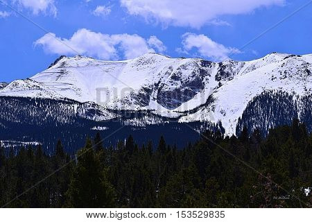 Pikes Peak mountain in Colorado. Also known as America's Mountain.
