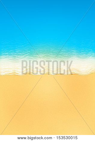 Vector top view of calm ocean beach with blue waves, yellow sand, and white foam, vertical image