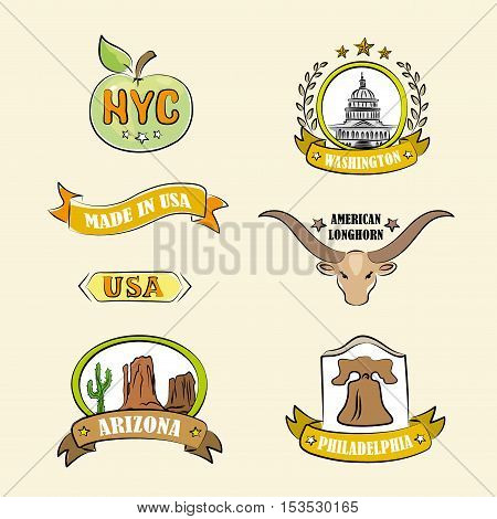 Logo or iconlabel of various US regions and places vector illustration