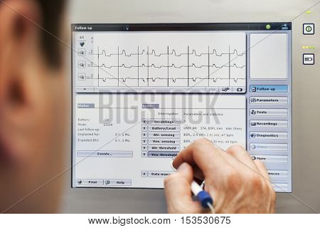 Doctor heart pacemaker monitor