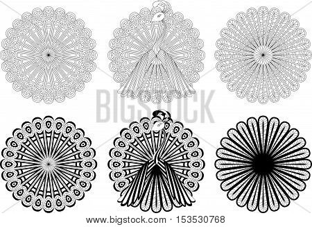Monochrome circular ornaments with peacock motif. Vector illustration.