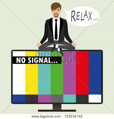 On the TV screen- no signal a man sitting in the lotus position relaxes and meditates vector illustration