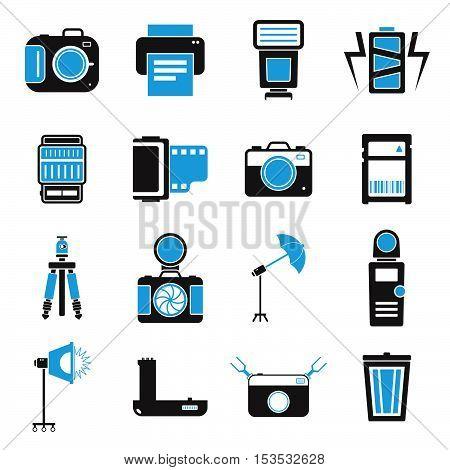 Camera And Accessory Icon Set Vector Illustration