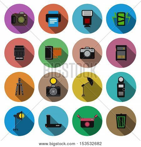 Camera And Accessory Flat Long Shadow Icon Set Vector Illustration