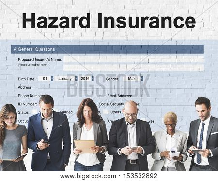 Hazard Insurance Form Compensation Claim Concept