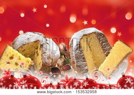 christmas, panettone and pandoro on red