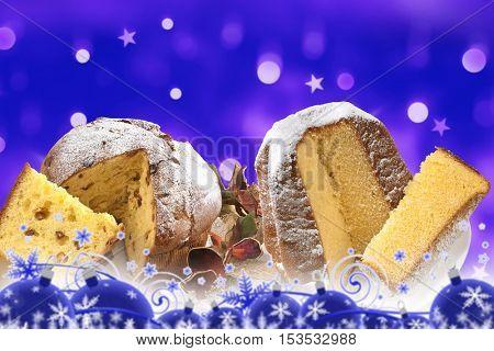 christmas, panettone and pandoro on blue