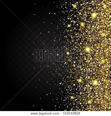 Effect of flying from the side of the gold luster luxury design rich background. Dark background. Stardust spark the explosion on a transparent background. Luxury golden texture.