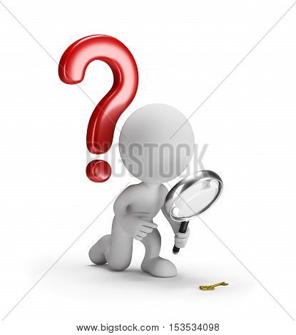 3D man with a magnifying glass and a question mark. 3d image. White background.