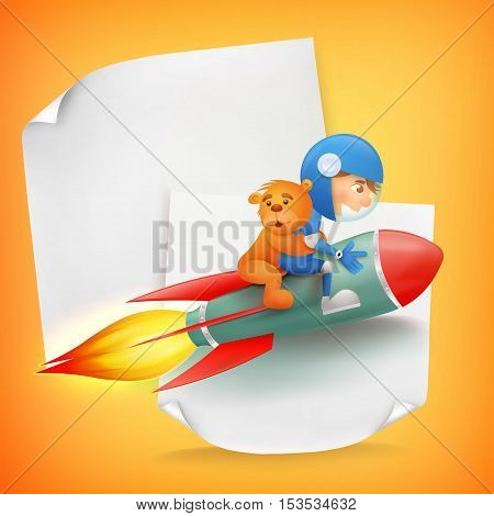 Astronaut kid riding red rocket with teddy bear. Vector concept card