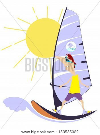 Windsurfing. Comic man goes in for windsurfing