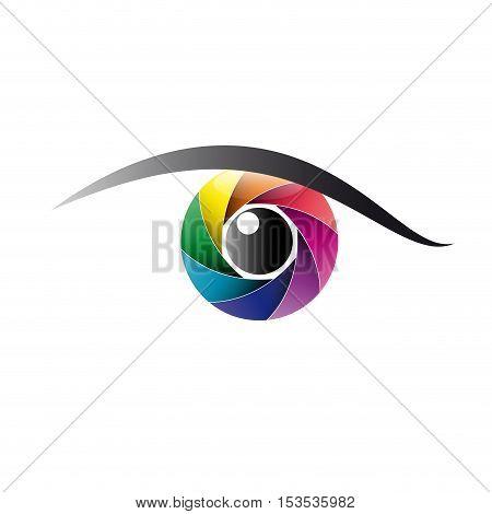 Vector sign rainbow eye iris, isolated logo