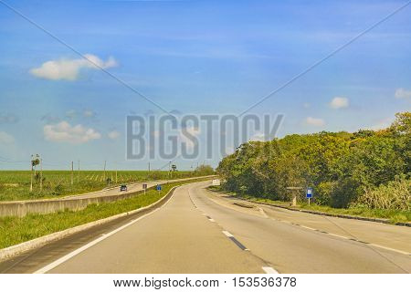 PARAIBA, BRAZIL, JANUARY - 2016 -Sunny day at wodded highway in Paraiba district at north of Brazil.