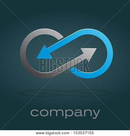 Vector sign infinite with arrows. Teamwork, isolated logo
