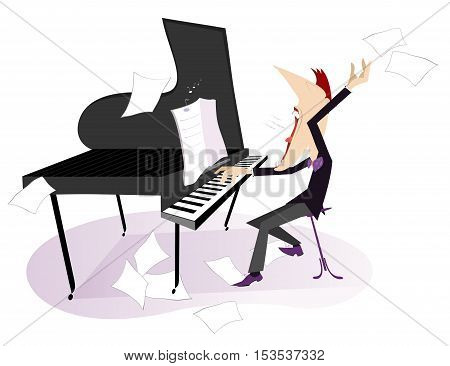 Expressive composer. Pianist or composer plays piano and sings with inspiration