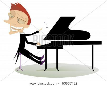 Pianist. Smiling cartoon pianist is playing music