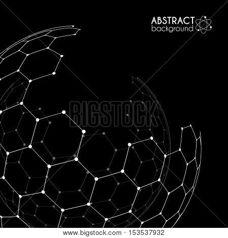 Vector hexagonal carbon grid broken sphere isolated on black background