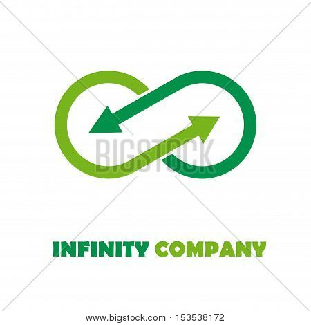 Vector sign infinite with arrows. Green recycling logo