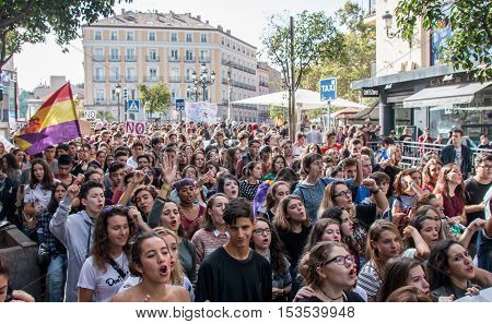 Madrid, Spain - October 26, 2016 - Students With Flags And Signs At Protest Against Education Politi