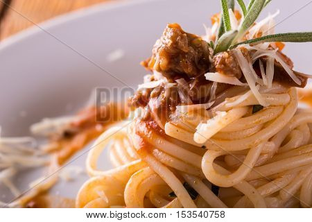 Detail Of Spaghetti Portion With Minced Meat And Herb