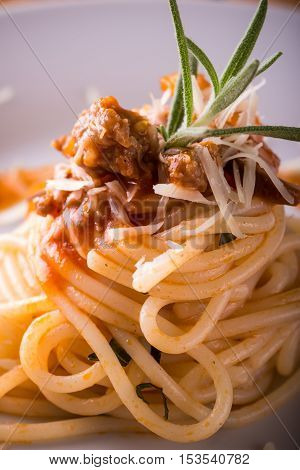 Detail Of Spaghetti Portion With Minced Meat And Rosemary