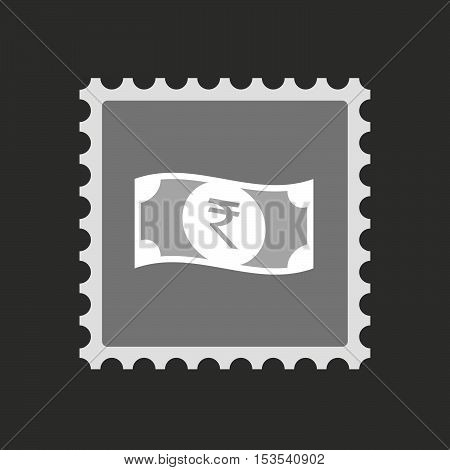 Isolated Mail Stamp Icon With  A Rupee Bank Note Icon