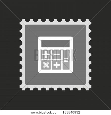Isolated Mail Stamp Icon With  A Calculator