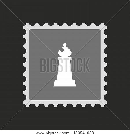 Isolated Mail Stamp Icon With A Bishop    Chess Figure