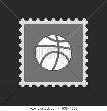 Isolated Mail Stamp Icon With  A Basketball Ball